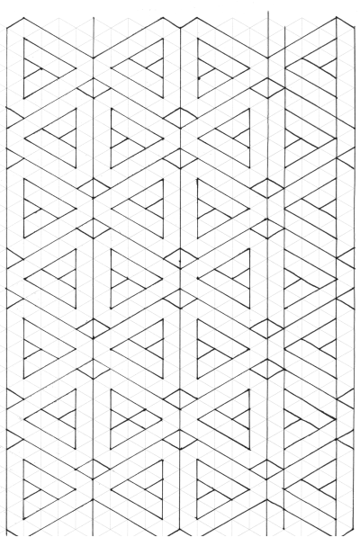 Paper Piecing Pattern on Triangle Graph Paper