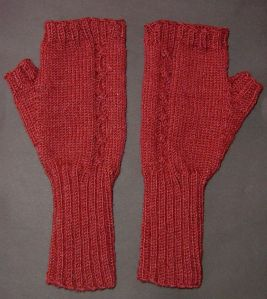 Asymmetrical Cabled Mitts