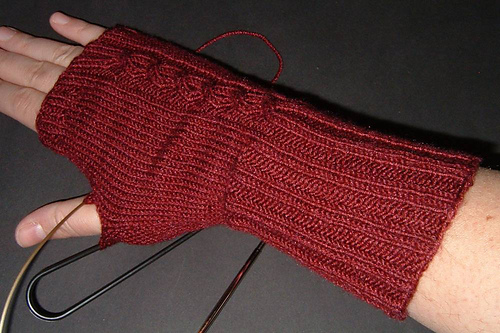 Fingerless Mitts in Progress