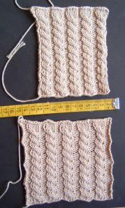 Swatches for Cabled Cardigan