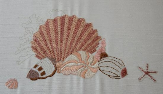 Seashells - Silk Embroidery Finished