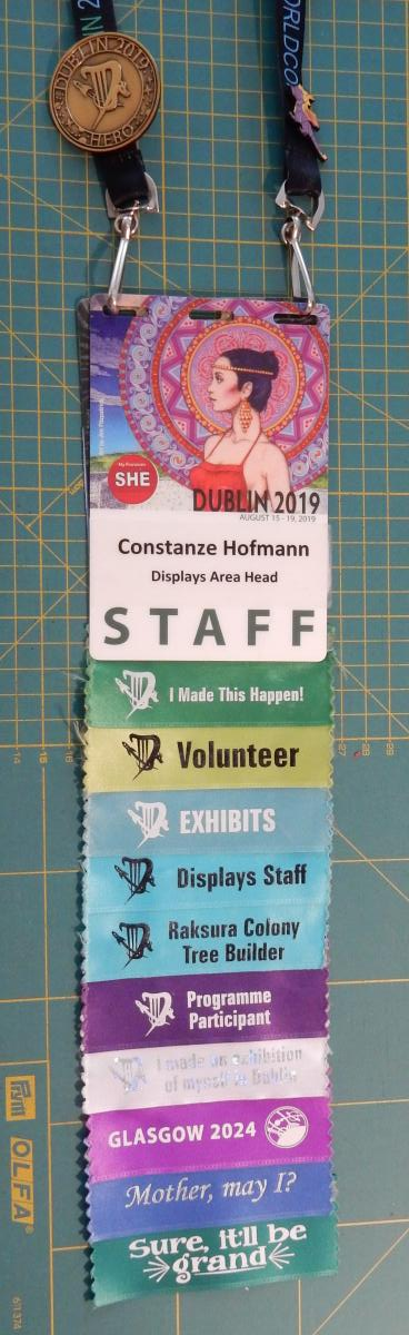 Dublin 2019 staff badge with ribbons