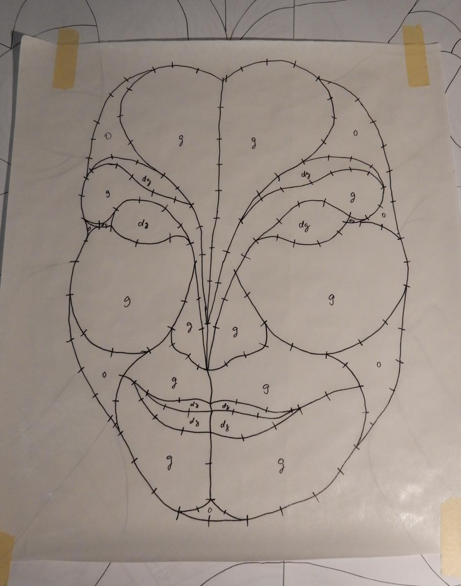 Green Woman - copying the face onto freezer paper