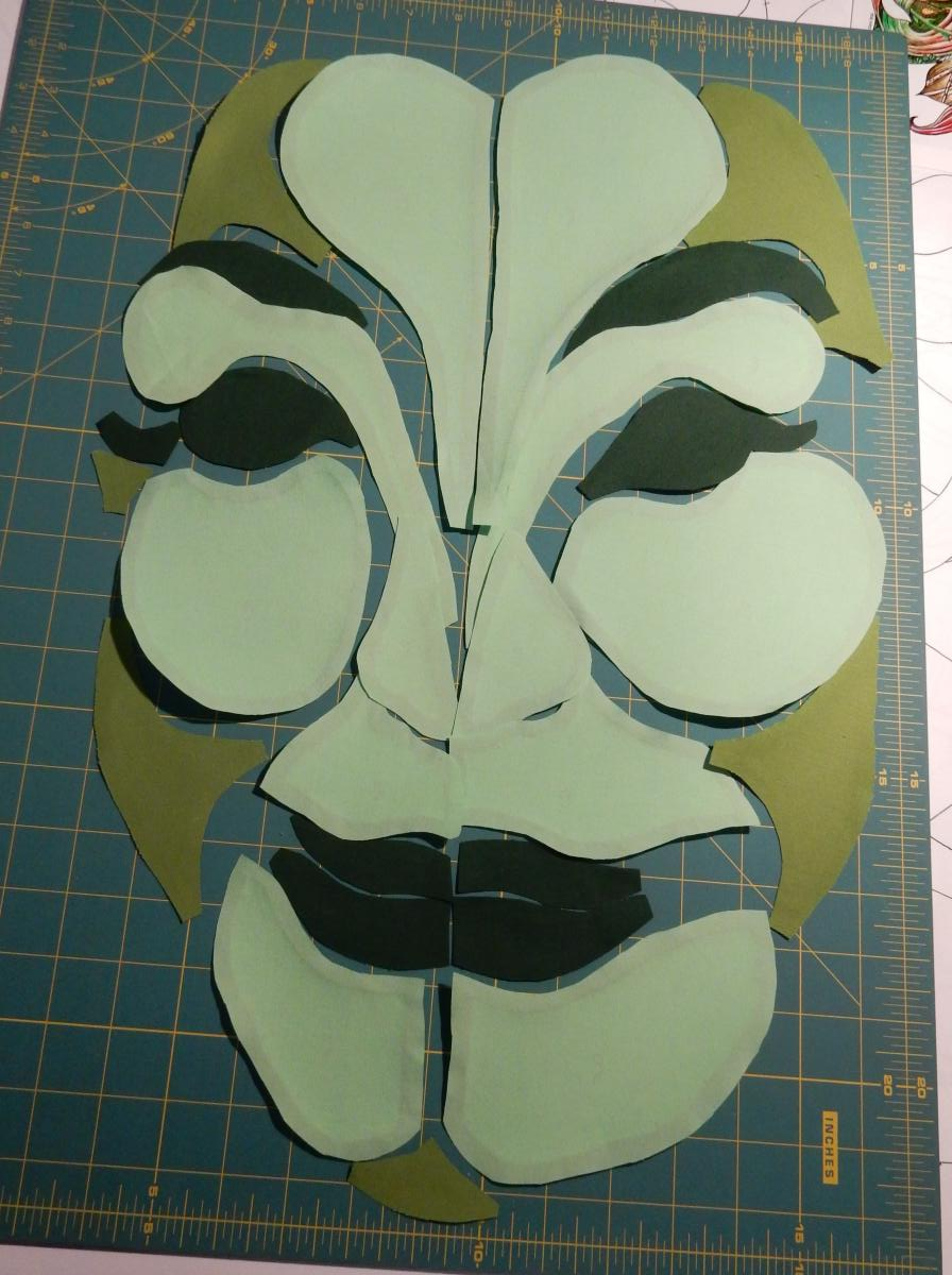 Green Woman - pieces for face