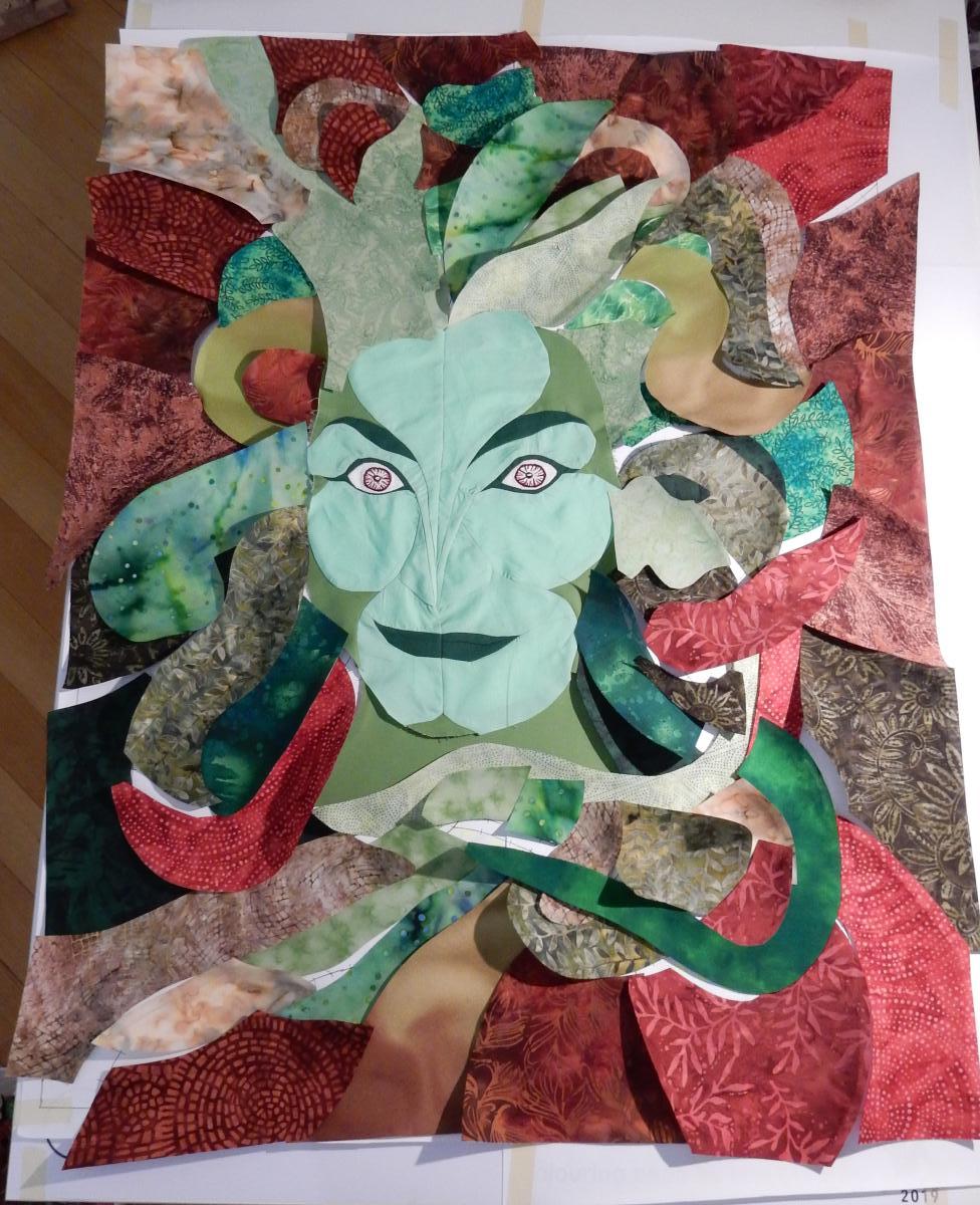 Green Woman #5 - background fabrics