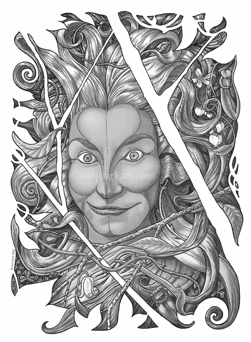 Green Woman #5 - original black/white