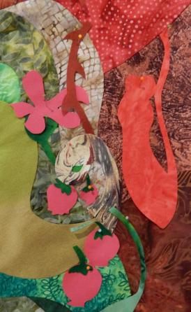 Green Woman - fabric detail, first option
