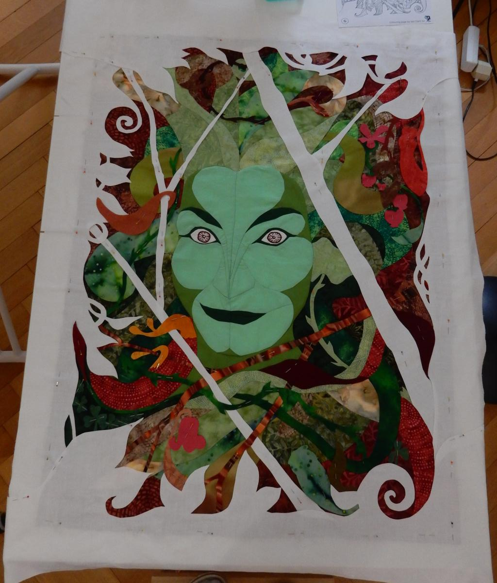 Green Woman - foreground in position