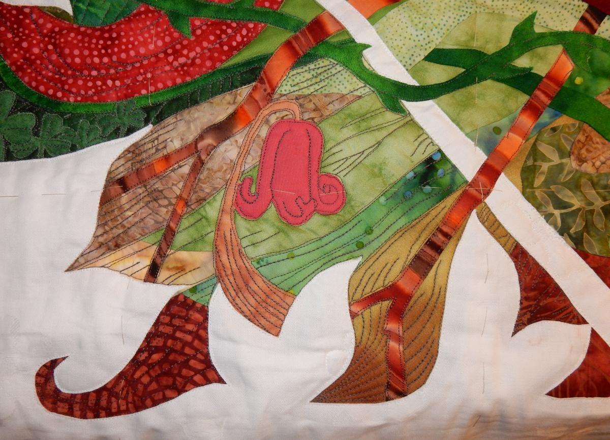 "Detail of quilting on the frontside of ""Green Woman"""