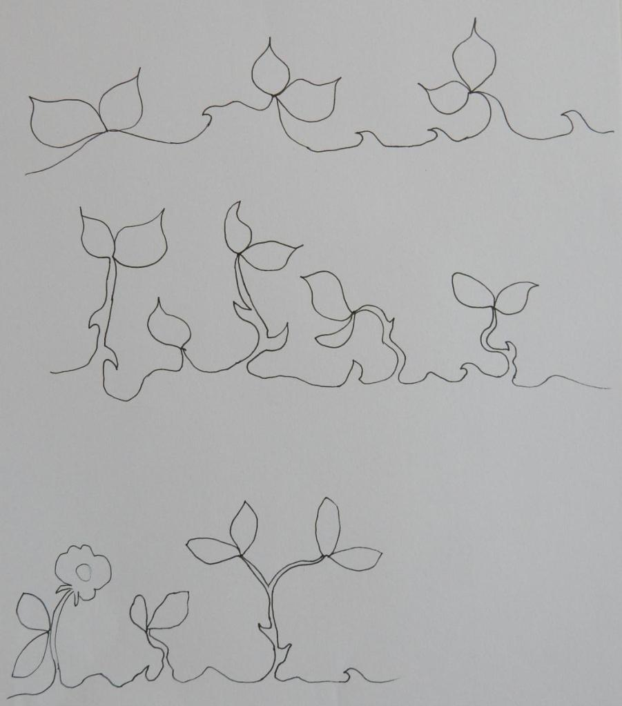 black ink drawing showing different variants for rose hedge continuous quilting design.
