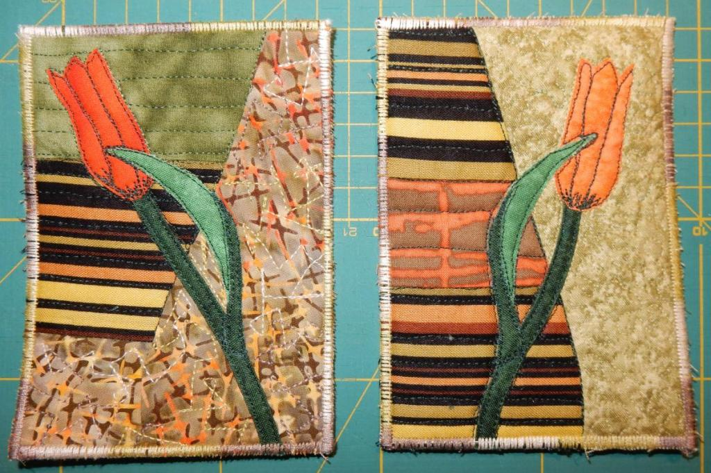 Two textile cards showing an appliquéd tulip on top of a striped background intended to evoke tulip fields seen from the air.